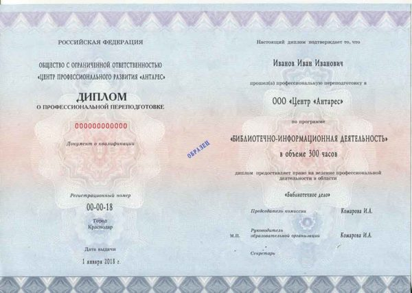 """Образец диплома по программе """"Библиотечно-информационная деятельность"""""""
