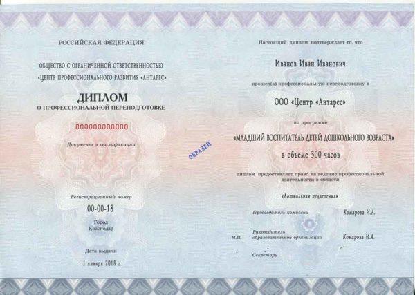 """Образец диплома по программе """"Младший воспитатель ДОО"""""""