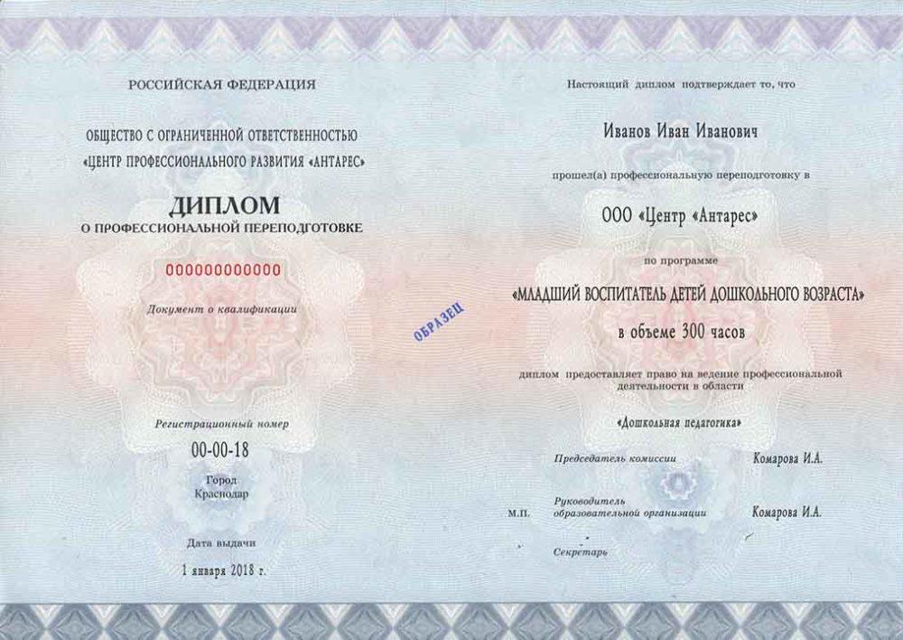 """Образец диплома по программе """"Младший воспитатель ДОУ"""""""
