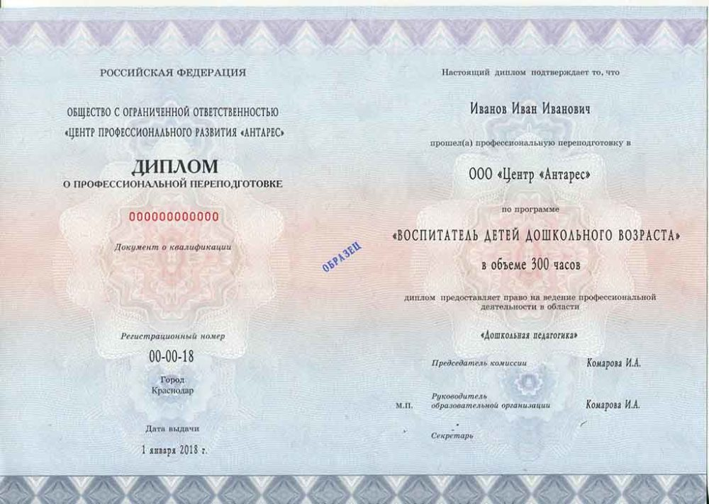 """Образец диплома по программе """"Воспитатель ДОУ"""""""